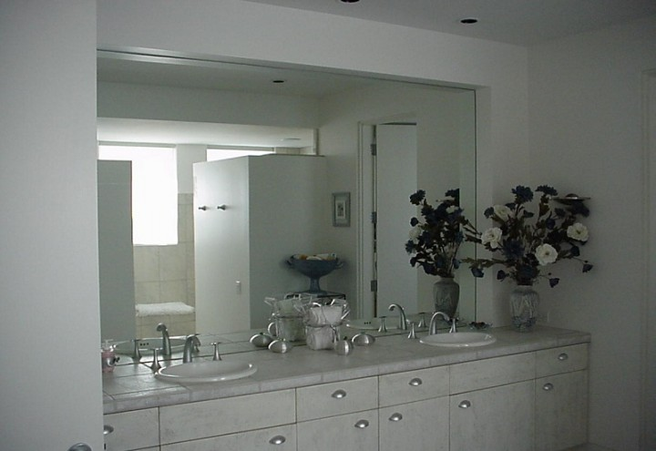 Excellent Frameless Bathroom Mirror Bathroom Contemporary With Large Frameless